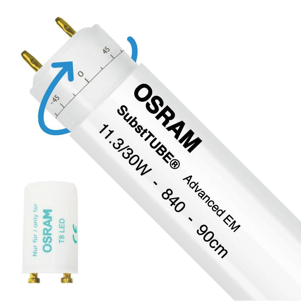 Osram SubstiTUBE Advanced EM 11.3W 840 90cm   1700 Lumen - mit LED-Starter - Ersatz für 30W - Rotierbar