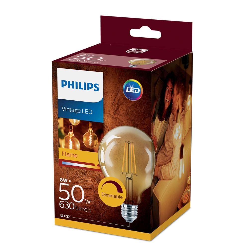 Philips Classic LEDglobe E27 G93 8W 822 Gold | 630 Lumen - Dimmbar - Ersatz für 50W